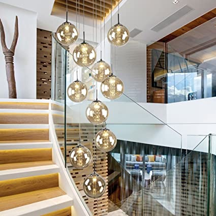 Amazon dididd ceiling chandelier double staircase chandelier dididd ceiling chandelier double staircase chandelier modern simple restaurant living room lights double rotary glass aloadofball Gallery