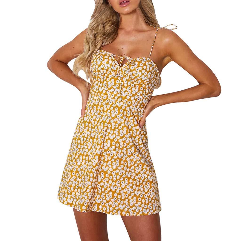 Longra Sommerkleid Damen Kurze Strandkleid Träger Rückenfreies Kleider Elegant Schulterfrei Ärmellos Blumenmuster Minikleider