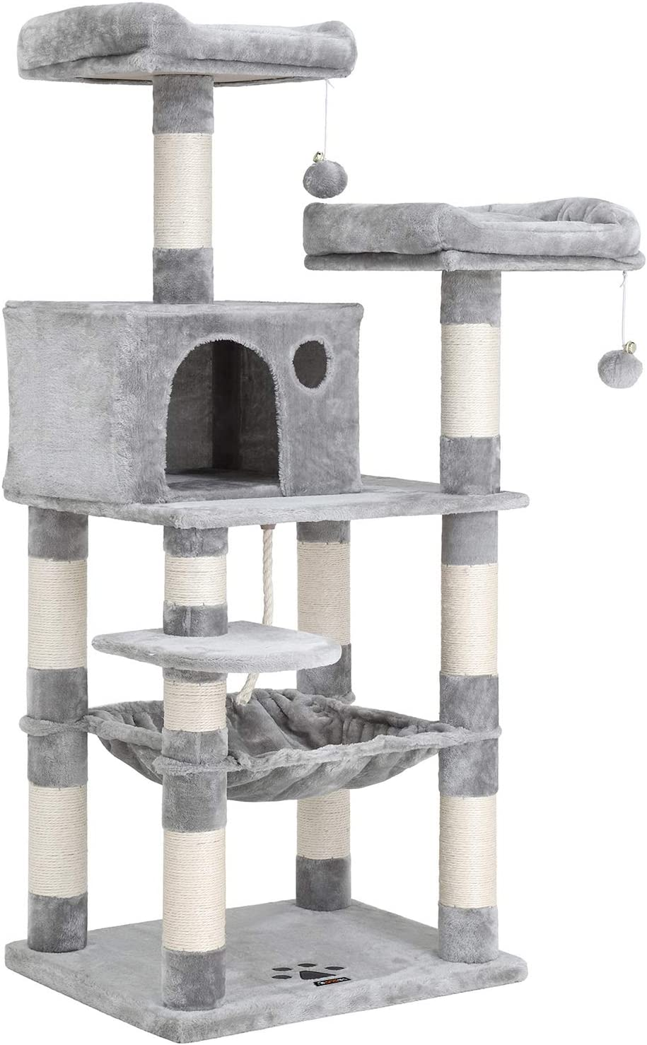 FEANDREA 56.3 inches Multi-Level Cat Tree with Sisal-Covered Scratching Posts, Plush Perches, Hammock and Condo, Cat Tower Furniture - for Kittens, Cats and...