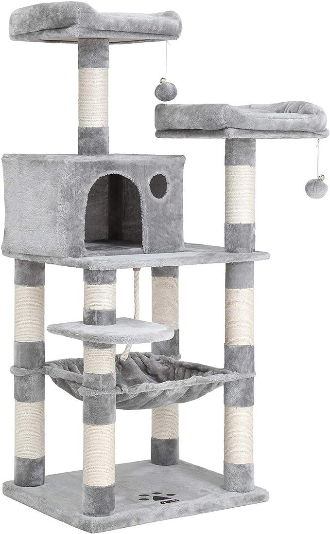FEANDREA Árbol para Gatos de Varios Niveles, Torre de 143 cm, Gris Claro PCT15W: Amazon.es: Productos para mascotas