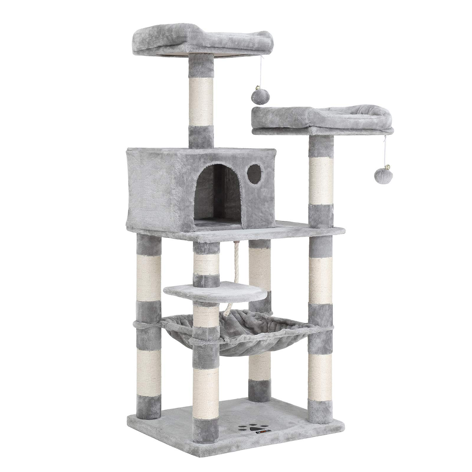 FEANDREA 58 inches Multi-Level Cat Tree with Hammock, Cat Tower for Large Cats UPCT15W by FEANDREA