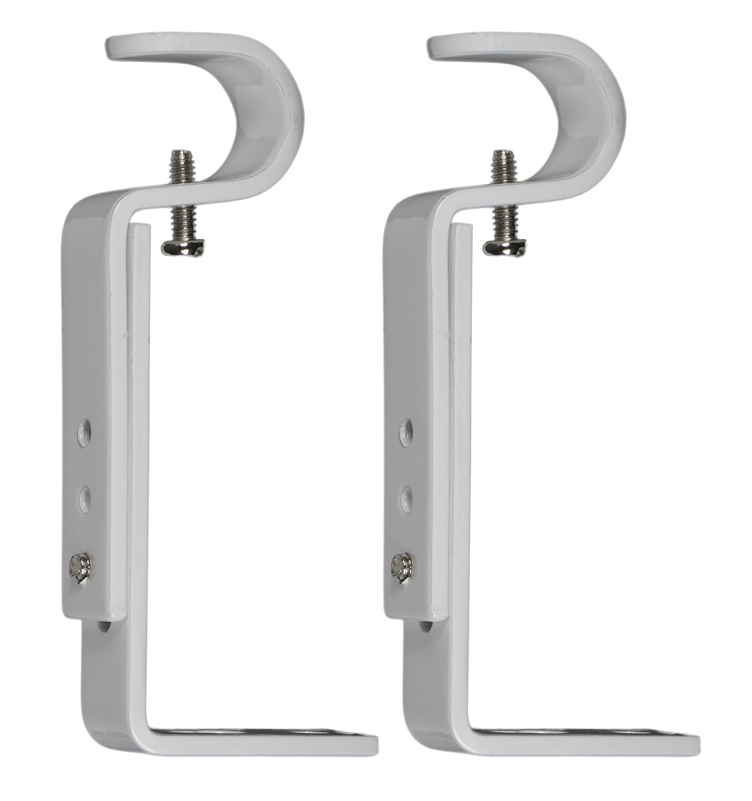 Urbanest Adjustable Bracket for 1/2-inch and 5/8-inch Curtain Drapery Rod, 2 Pieces, Glossy White