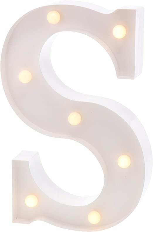"""Barnyard Designs Metal Marquee Letter S Light Up Wall Initial Wedding, Bar, Home and Nursery Letter Decoration 12"""" (White)"""