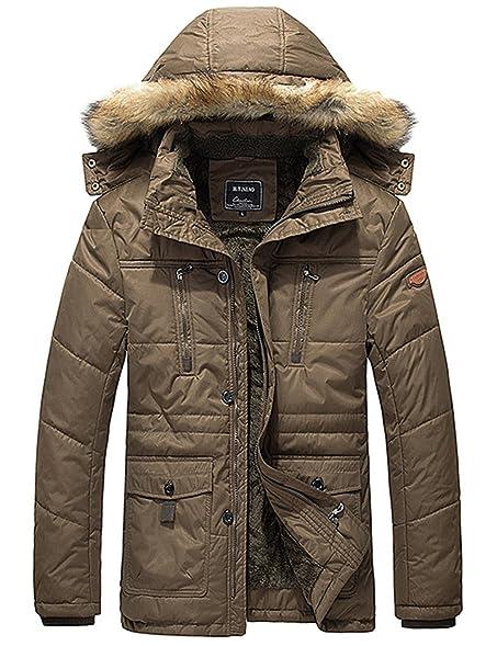 Amazon.com: Menschwear Men's Faux Fur Hooded Down Jacket Fleece ...
