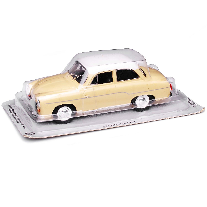 Syrena 103 Limousine Coupe Beige mit wei/ßem Dach 1957-1972 1//43 Modellcarsonline Modell Auto mit individiuellem Wunschkennzeichen