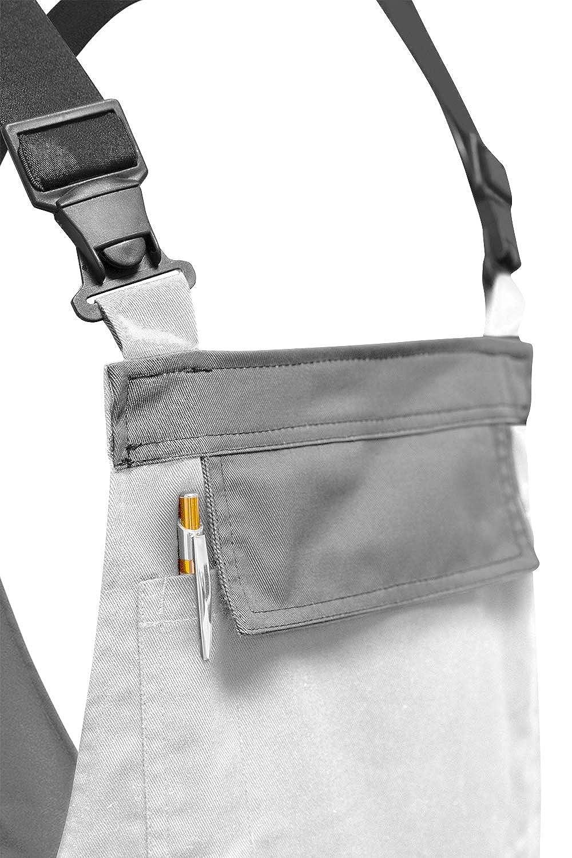 strongAnt/® Hecho en EU Pantal/ón de Peto el/ástico de Trabajo Berlin Pantalones de Pintor Blanco-Gris Bolsillos para Rodilleras
