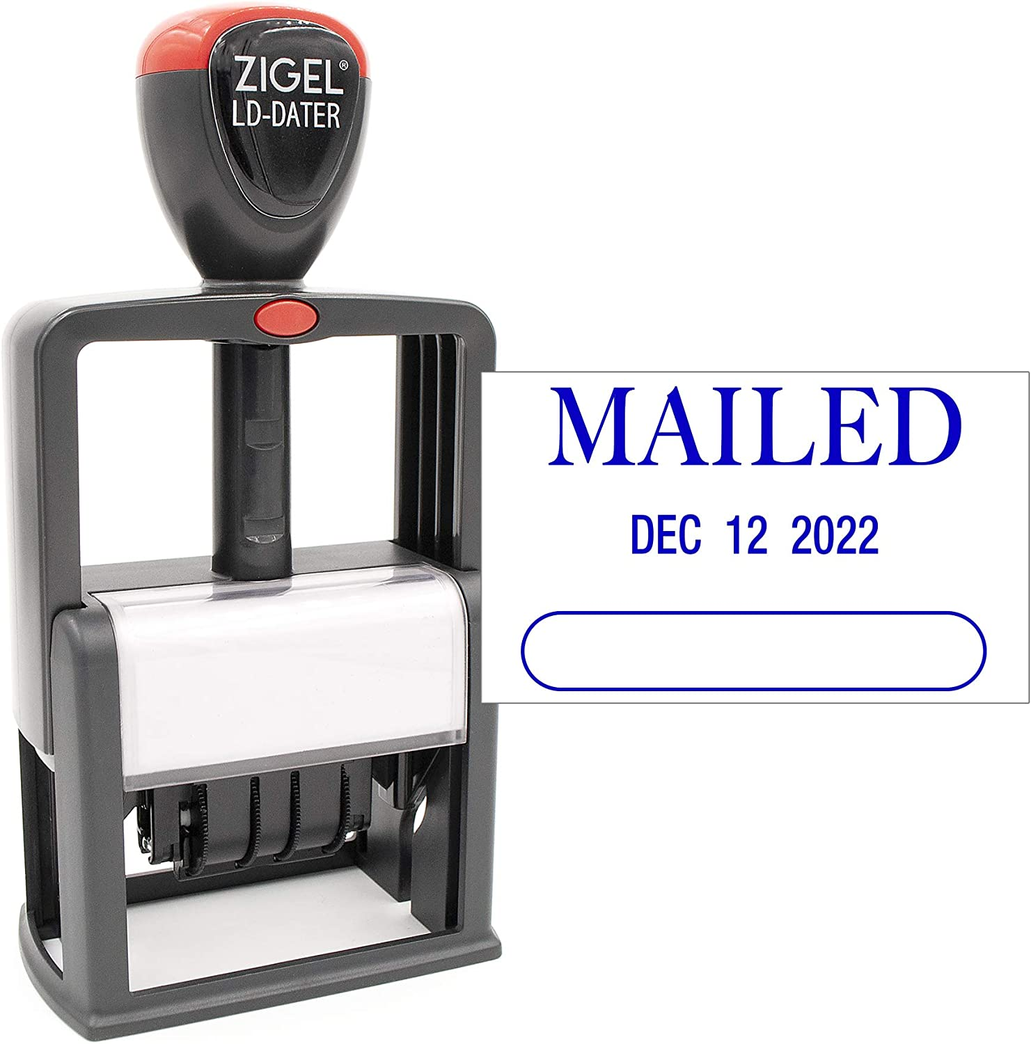Blue Ink Style A ZIGEL Heavy Duty Style Self Inking Date Stamp with Scanned