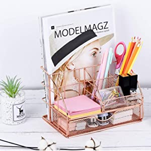 Eleckey Desk Organizer Rose Gold Office Organization and Storage, Cute Mesh Office Supplies Accessories Essentials Caddy with Drawer for Home & Office Desktop Organization & Decor(No-Clips)