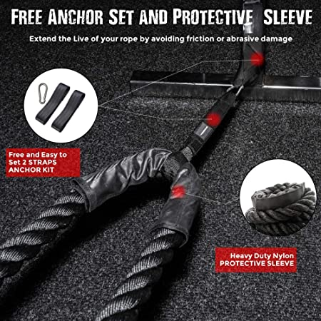 Battle Ropes with Anchor KIT. Full Body Workout Equipment to Lose Fat, Boost Strength Power. Fast Efficient Training in Less Than 20 Minutes. Premium 1.5 Inch Heavy Rope in 30, 40 or 50 Feet