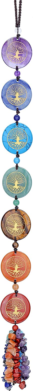 Top Plaza 7 Chakra Stones Hanging Ornament Decor Tree of Life Healing Crystals Wall Decoration for Yoga Meditation Witchcraft Reiki Balance