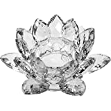 "Amlong Crystal Clear Crystal Lotus Tealight Candle Holder 4.5"" in Gift Box"