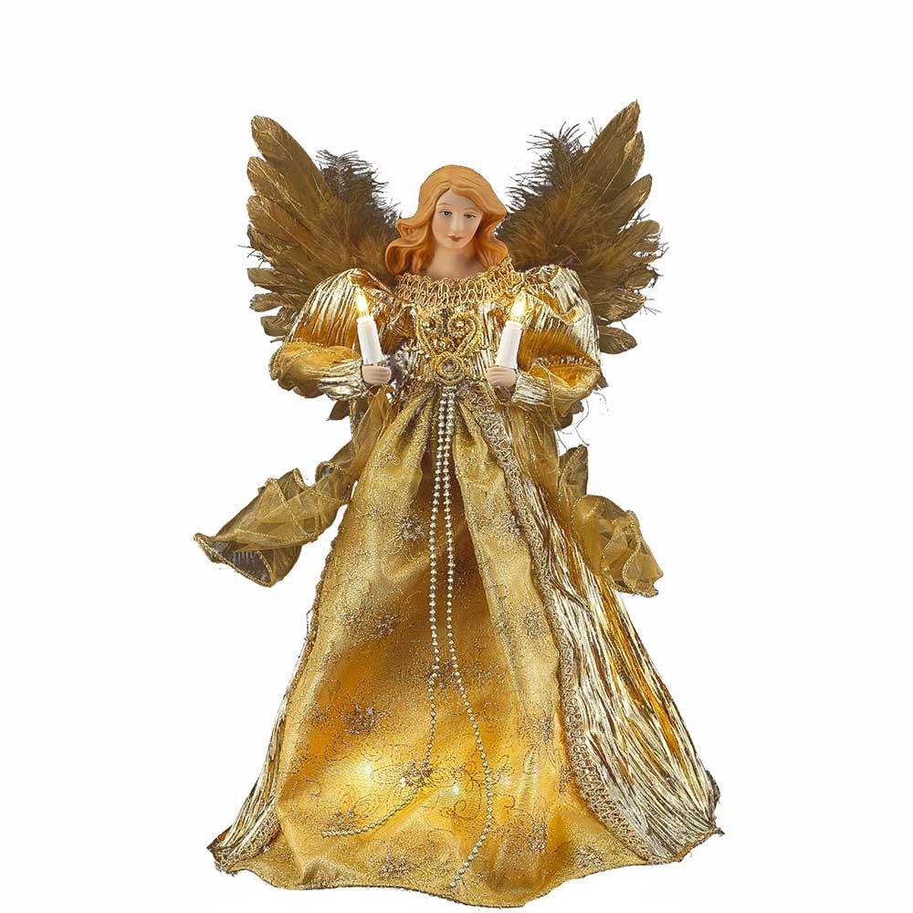 Kurt Adler 10-Light Angel Treetop, 14-Inch, Gold