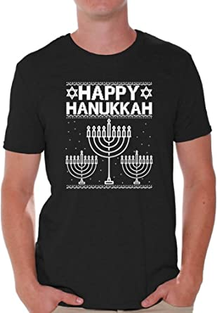 Happy Hanukkah Jewish Funny Holiday T-shirt Menorah Choice of Size /& Color