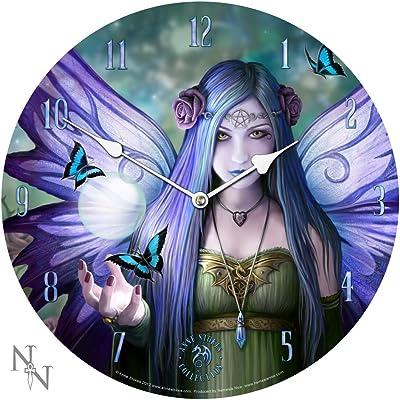 Mystic Aura Anne Stokes Purple Fantasy Goth Pentagram Angel Art Round Wall Clock