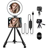 """10.2"""" Selfie Ring Light with Stand & iPad/Phone Holder HQOON LED Ringlight with 52"""" Extendable Tripod Stand for Makeup/Photog"""