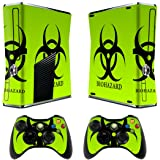 Skins Stickers for Xbox 360 Games Console Decals Xbox 360 Slim Skins Stickers with Two Wireless Controller Decals - Biological harzard