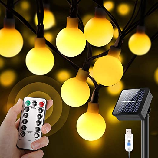 Solar String Lights Outdoor, Upgrade Version Solar+USB Powered+Remote Control 35.6ft 60LED Outdoor String Lights Waterproof IPX5, 8 Lighting Modes LED String Lights for Garden Yard Wedding Party