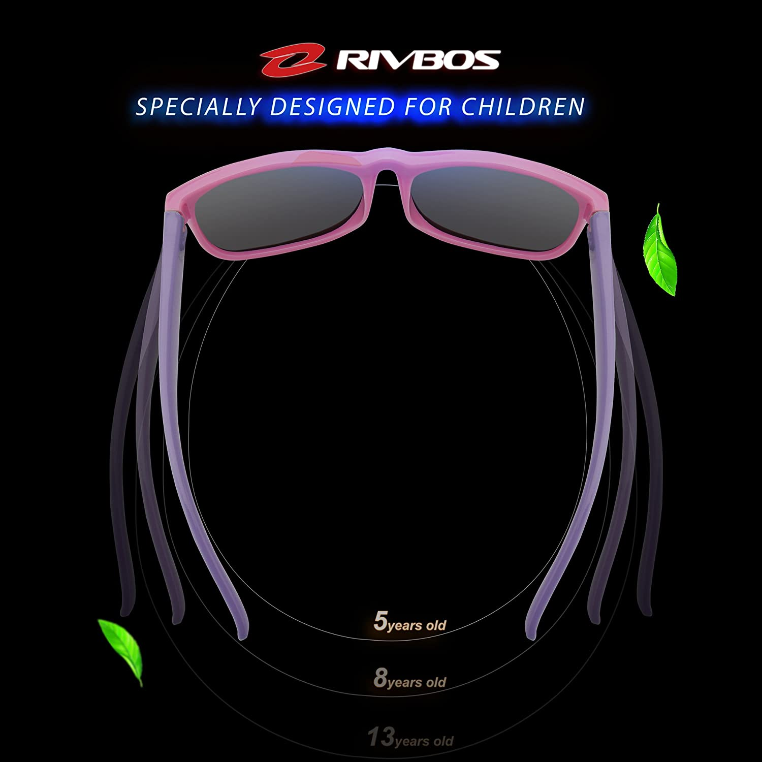 RIVBOS Rubber Kids Polarized Sunglasses for Boys Girls and Children Age 3-10 RBK023