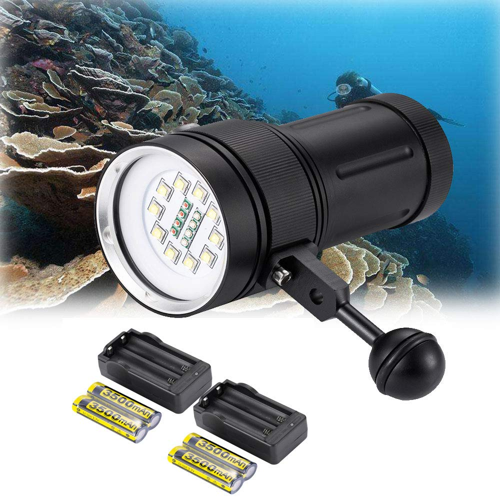 DOMINTY Diving Flashlight 12000LM 10x XM-L2+4X Red+4X UV LED Photography Video Scuba Dive Light Submarine Rechargeable Waterproof Underwater 100M Torch Handheld (Light+ Stand 1+Battery+Charger)