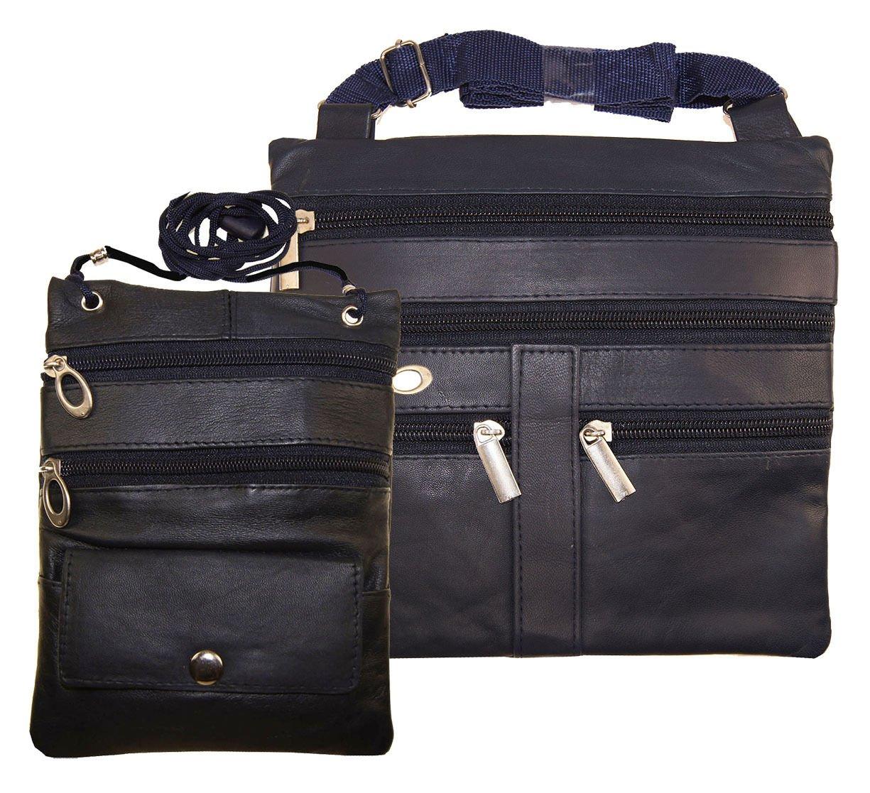 1 Lady 2 Navy Blue Cross Body Leather Satchel Messenger Bag 48'' Strap Pouch