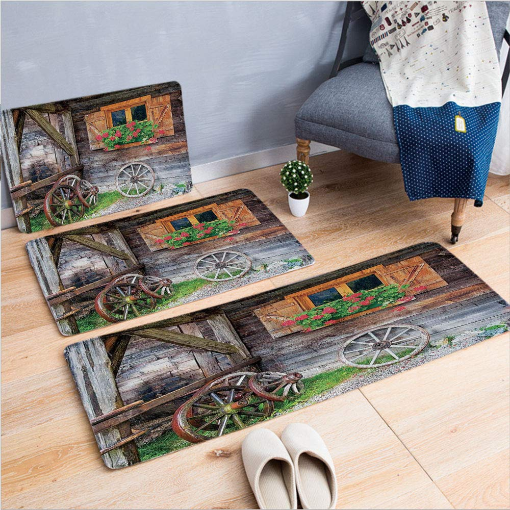 """3 Piece Non-Slip Doormat 3d print for Door mat living room kitchen absorbent kitchen mat,Flowers in Pot Wheels Farmhouse Rural Scene Front,15.7""""x23.6""""by23.6""""x35.4""""by17.7""""x45.3"""",coffee table carpet win"""