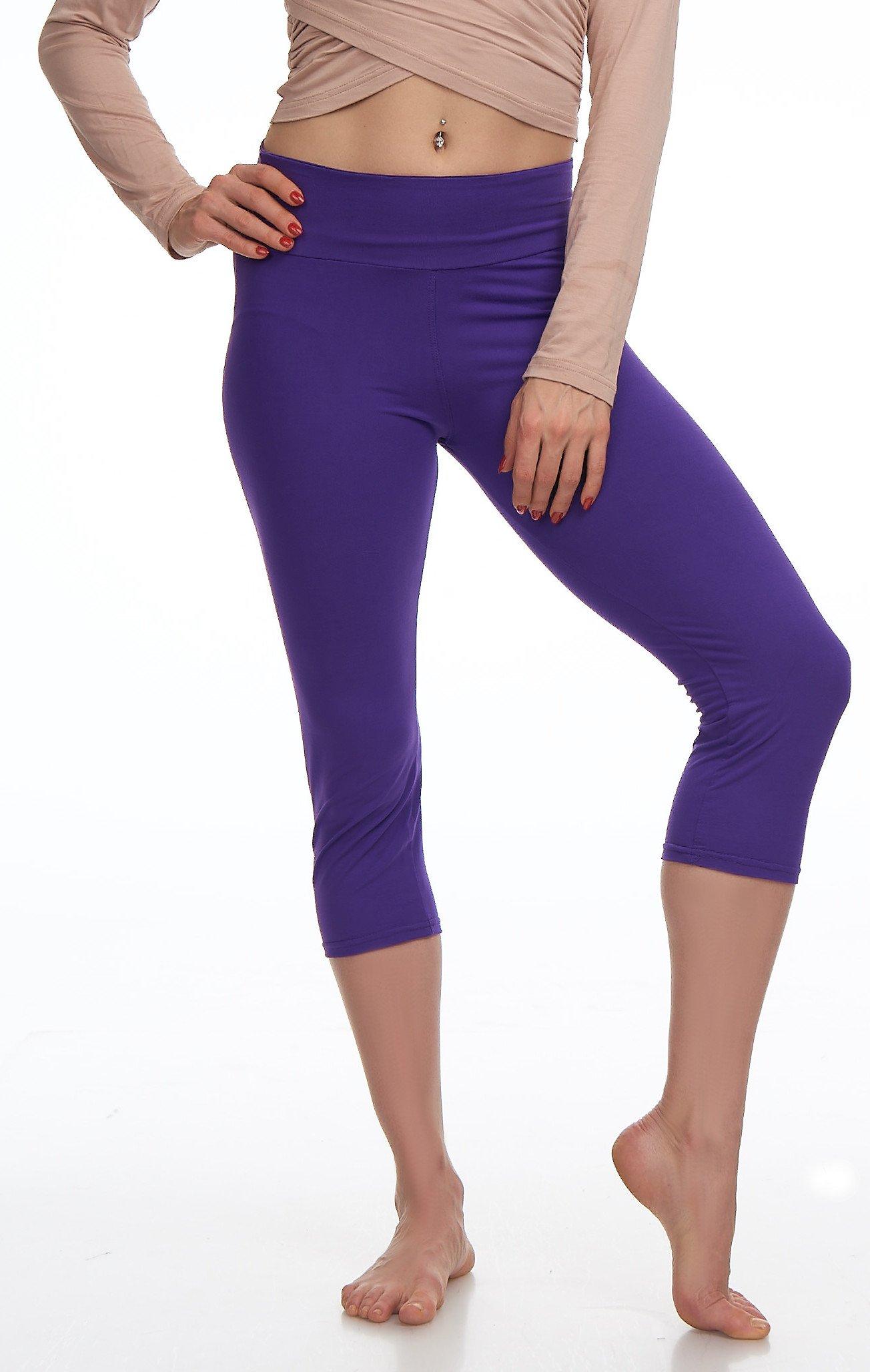 Lush Moda Extra Soft Leggings Variety of ColorsPlus Size Yoga Waist Purple, One Size fits Most (XL 3XL), Purple Yoga Waist by LMB (Image #2)