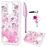 LG K20 Plus Case, LG K10 Case 2017, LG K20 V Case, Liquid Glitter Case Bling Sparkle Shiny Lovely Unicorn Cover Flowing Floating Moving Love Heart Glitter Clear Ultra Slim TPU Bumper ZSTVIVA - Pink