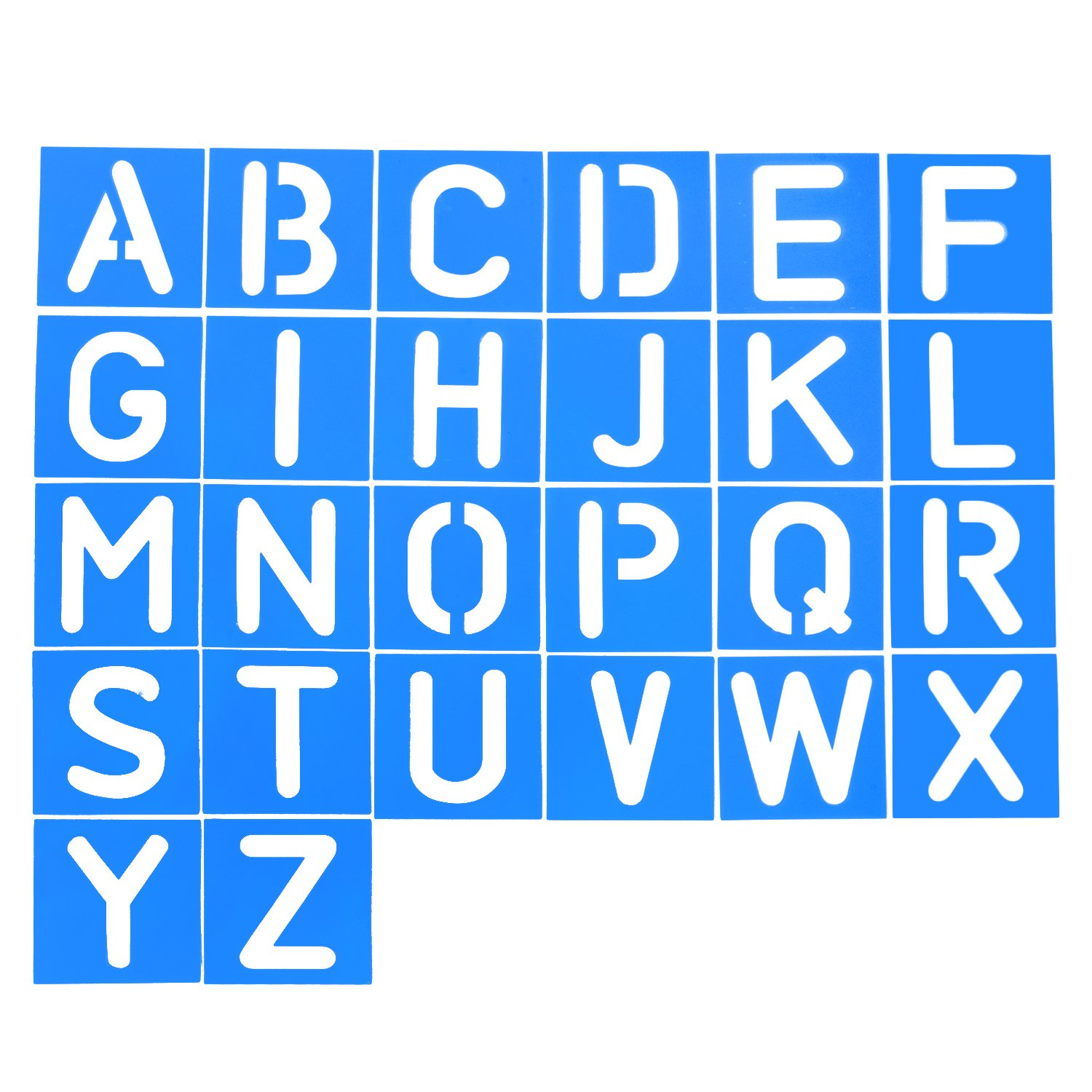 Amazon pro art 6 inch painting stencil set letters and shappy 26 pieces plastic letter stencil alphabet stencils set for painting learning diy blue amipublicfo Image collections