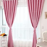 Twinkle Stars Design Blackout Curtains Thermal Insulated Grommet Curtains Room darkening Panels for Kids Bedroom Living room 2 panels 39inchx98incn