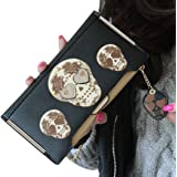 DEESEE(TM) Womens Boutique High-grade leather Wallet Punk Skull Print Card Holder