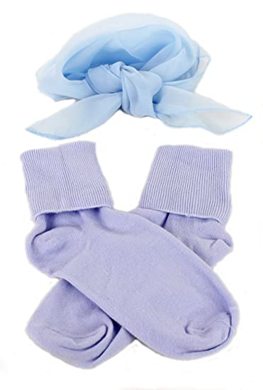 ff856da7e1278 Amazon.com  Light Blue Bobby Socks   Sheer Scarf - Retro 50s Accessory Set   Clothing