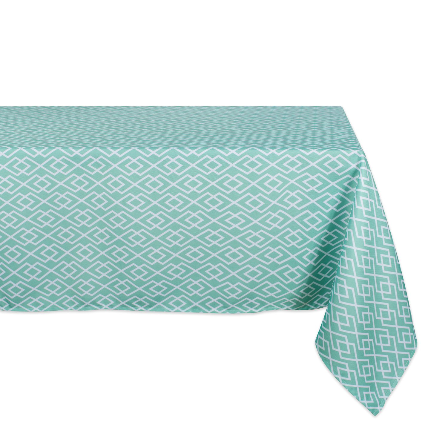 DII 100% Polyester, Spill Proof, Machine Washable, Tablecloth for Outdoor Use, 60x84 Round, Aqua Diamond, Seats 6 to 8 People