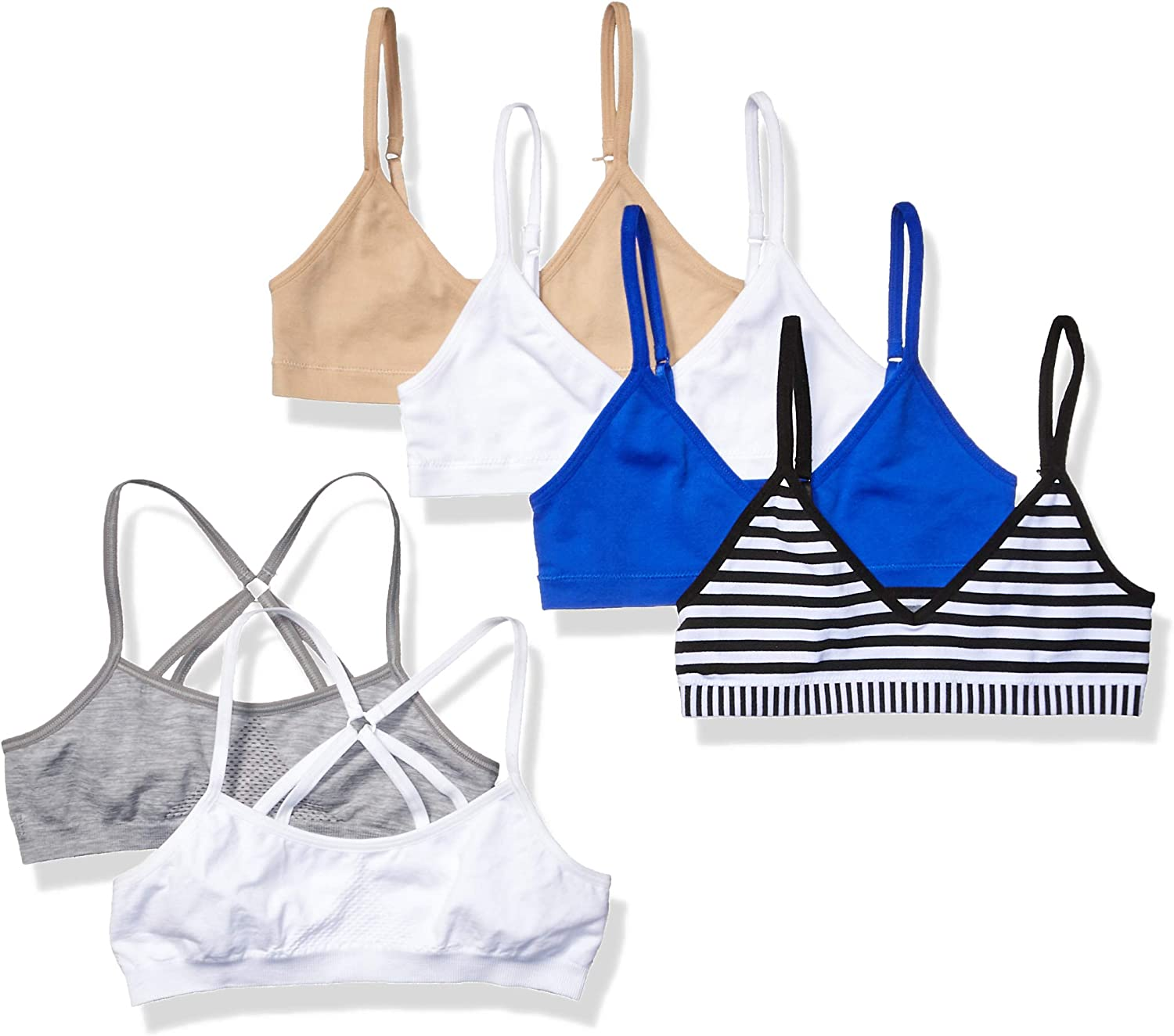 X-large assorted colors Pack of 2 Hanes Girls Crop Top Bralette
