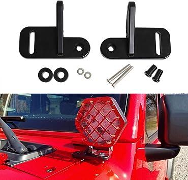 MFC CNC Aluminum A-Pillar Mounting Brackets LED Pod Light Windshield Mounting Brackets for Jeep Wrangler JL JLU Sahara Rubicon Sport 2018 2019 Black