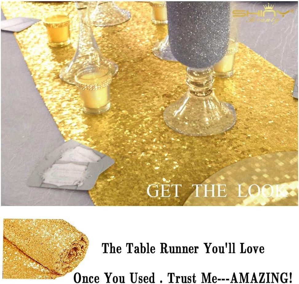 Runner da Tavolo con Paillettes 30 x 180 cm Argento Copertura per Tavolo da Festa ShinyBeauty Decorazione di Compleanno 12 x 72 Pollici Lino