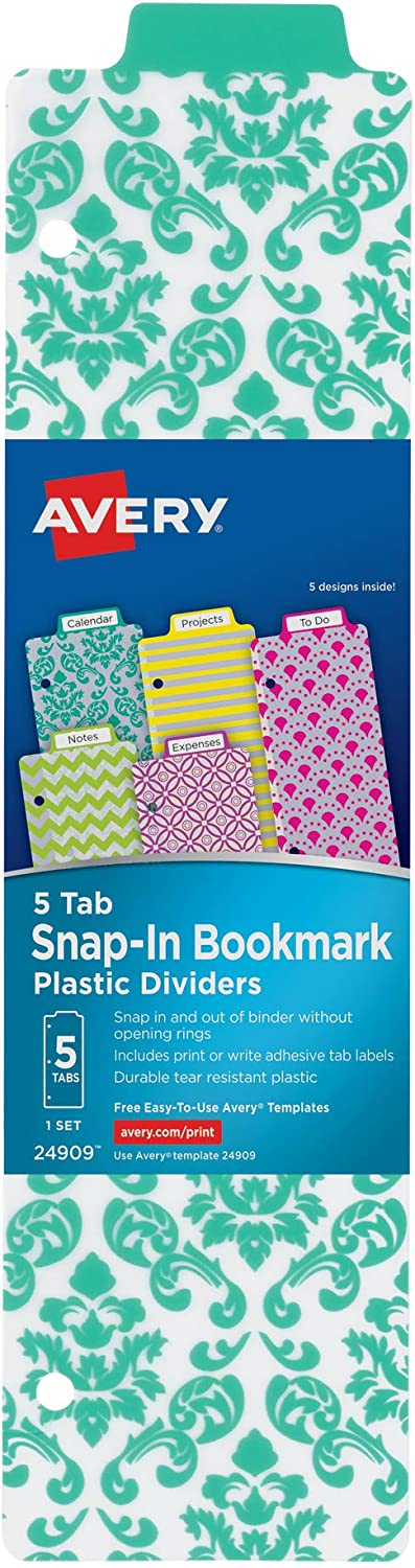 """AVERY Snap-in Plastic Bookmark Dividers, 5 Assorted Design Tabs, White Labels, 1 Set (24909), 8-1/2"""" x 11"""""""