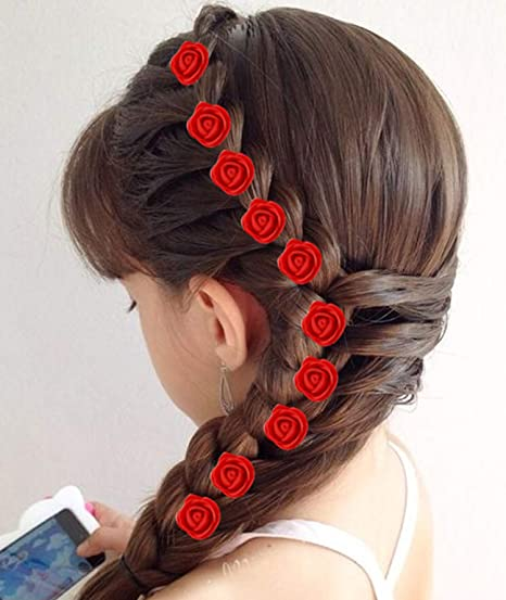 Fully Rose Flower Hair Accessories For Girls And Women, Red,24pcs, 30 Gram  Pack Of 1
