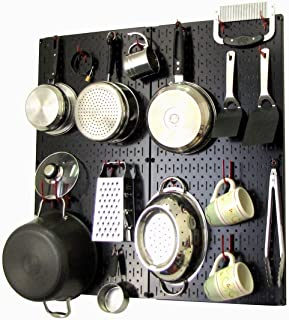 product image for Wall Control Kitchen Pegboard Organizer Pots and Pans Pegboard Pack Storage and Organization Kit with Black Pegboard and Red Accessories