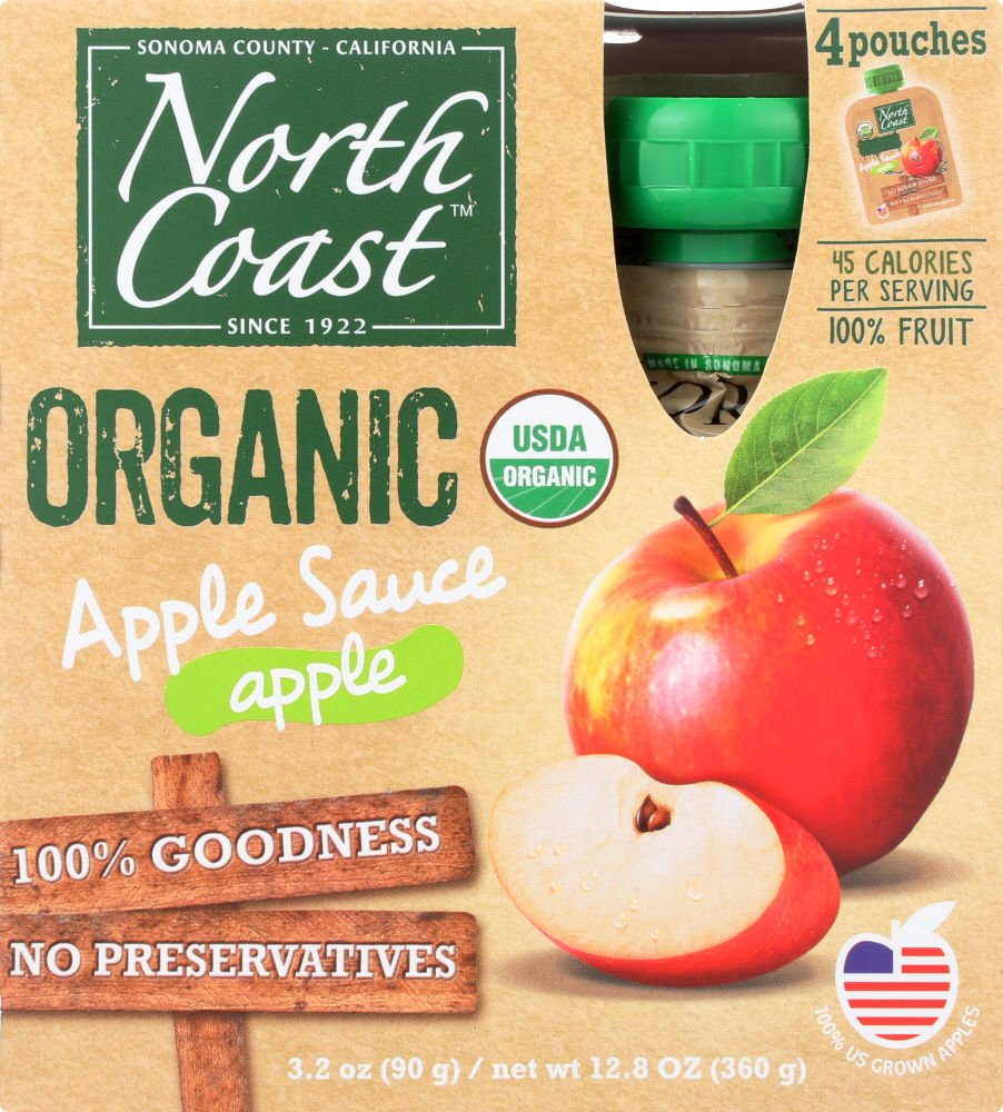 North Coast Organic Apple Sauce 4ct Pouches (Pack of 4) by North Coast