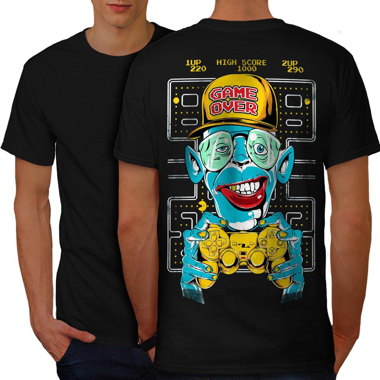 ffb899d5 Amazon.com: wellcoda Game Over Monkey Mens T-Shirt, Cool Design Print on  The Back: Clothing
