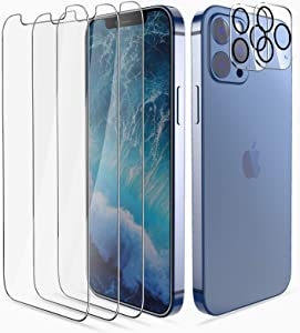 [5 pack]Smiling 3pack Screen Protector+2 Pack Camera Lens Protector for iPhone 12 pro max 6.7inch Premium HD Clarity, Tempered Glass Screen Protector Easy Installation Alignment ,Anti-Scratch,Bubble Free,Case-friendly screen protector