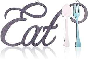 Rustic Wood Eat Spoon and Fork Sign Wall Decor Wooden Eat Letters Wall Sign with Fork and Spoon Shape Farmhouse Wood Cutout Eat Sign Farmhouse Eat Kitchen Wall Plaque for Home Decor, 15.7 x 8.3 Inch