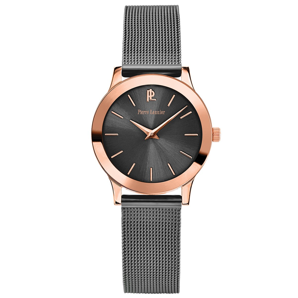 Women's Watch Pierre Lannier - 050J988 - WEEK-END LIGNE PURE - Grey and Rose-Gold - Milanese Band