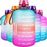 QuiFit Motivational Gallon Water Bottle - with Time Marker & Infuser & Flip Top Leak-Proof Reusable Water Jug for Fitness Out