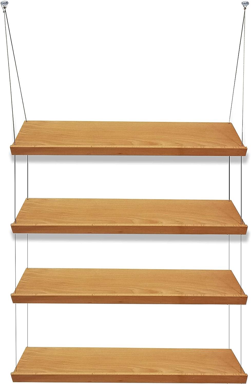 Estantes suspendidos de madera para colgar en la pared ...