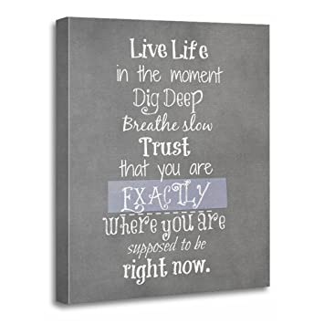 TORASS Canvas Wall Art Print Quotes Inspirational Live in The Moment Quote  Motivational Artwork for Home Decor 16\