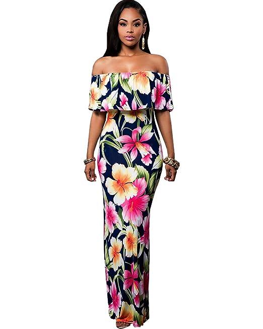 9f8a79914e3e BIUBIU Women s Floral Off Shoulder Ruffle Bodycon Long Party Maxi Dress  Rose Print (Thickened)