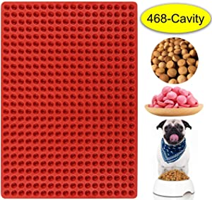 Palksky 468-Cavity Mini Round Silicone Mold/Chocolate Drops Mold/Dog Treats Pan/Semi Sphere Gummy Candy Molds for Ganache Jelly Caramels Cookies Pet Treats Baking Mold Small Dot Cake Decoration