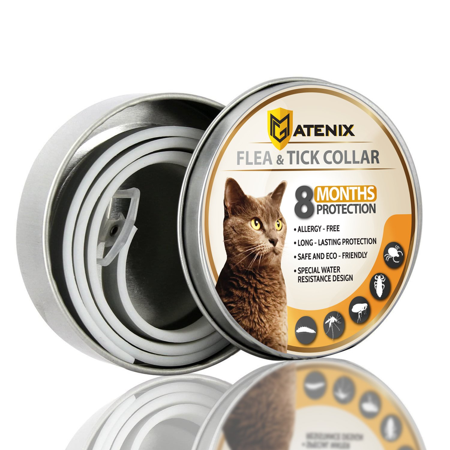 MATENIX Flea and Tick Prevention Collar for Cat – Best Flea Collar Repellent – 8 Month Protection – Environment Friendly with fully Natural Ingredients.