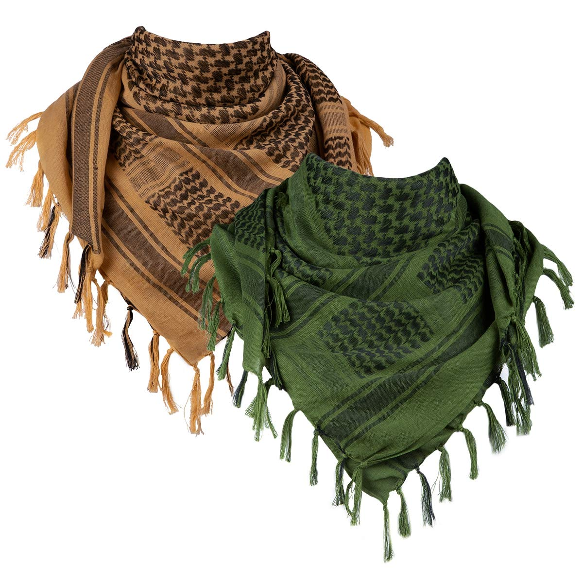 FREE SOLDIER 100% Cotton Military Shemagh Tactical Desert Keffiyeh Head Neck Scarf Arab Wrap 2 Pack (Coyote Brown & Army Green)